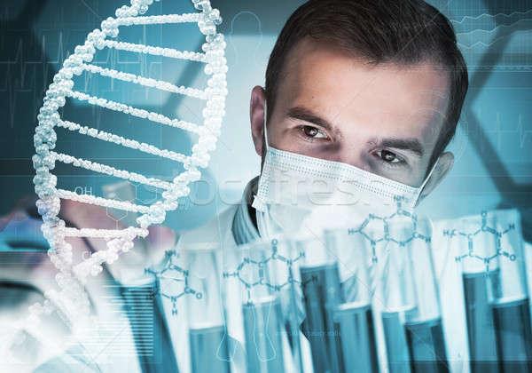 Foto stock: Jovem · cientista · vidro · clínico · laboratório