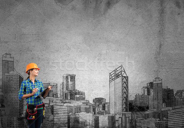 Développement plan ingénieur femme dossier Photo stock © adam121