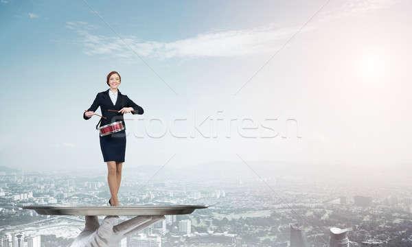 Vonzó üzletasszony fém tálca játszik dobok Stock fotó © adam121