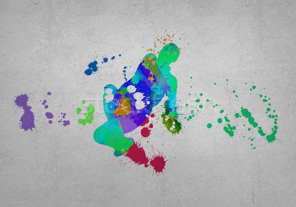 Zdjęcia stock: Streszczenie · tancerz · obraz · kolor · sylwetka · szary