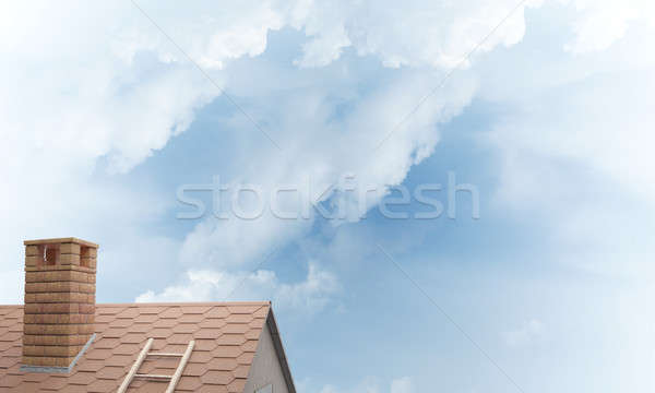 House roof as concept of suburbian real estate and construction. Mixed media Stock photo © adam121