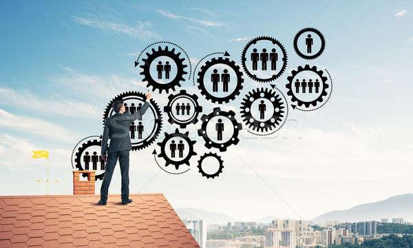 ビジネスマン 家 屋根 チームワーク 接続 ストックフォト © adam121
