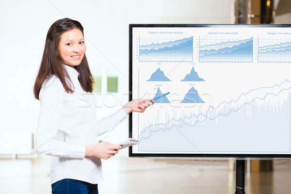 young business woman shows map of world Stock photo © adam121