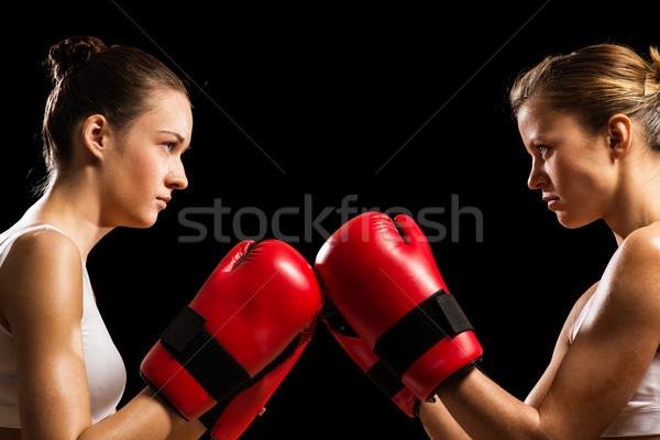 Confrontation deux femmes caleçon deux Homme visage Photo stock © adam121