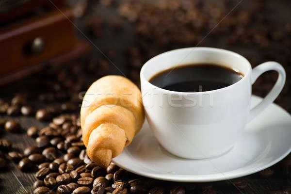 Кубок черный кофе круассан кофе вокруг кофе Сток-фото © adam121