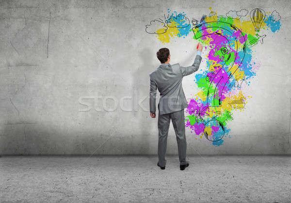 創造的思考 背面図 ビジネスマン 図面 旅行 金融 ストックフォト © adam121