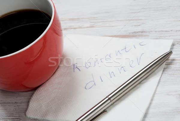 Wiadomość napisany serwetka kubek kawy papieru Zdjęcia stock © adam121