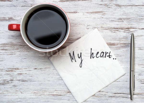 Romantische bericht geschreven servet beker koffie Stockfoto © adam121