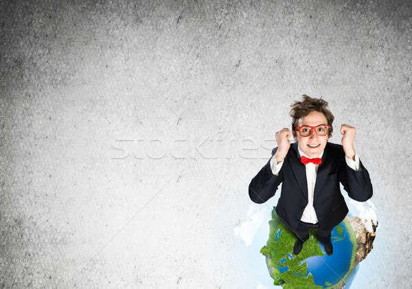 Stock fotó: üzletember · Föld · földgömb · felső · kilátás · vicces
