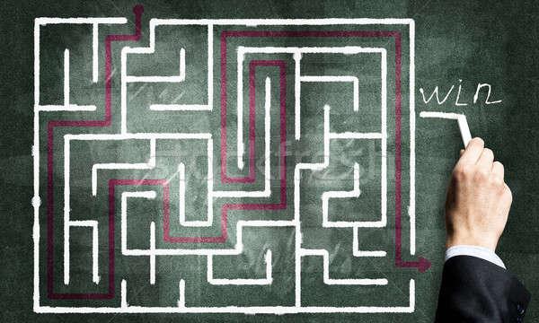 Labyrint patroon afbeelding hand abstract ontwerp Stockfoto © adam121