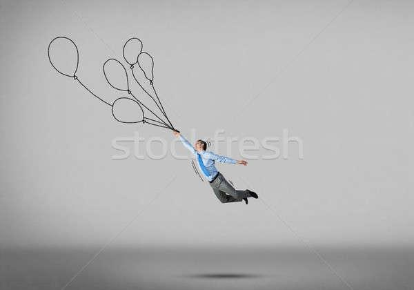 Işadamı uçmak balonlar genç başarılı Stok fotoğraf © adam121
