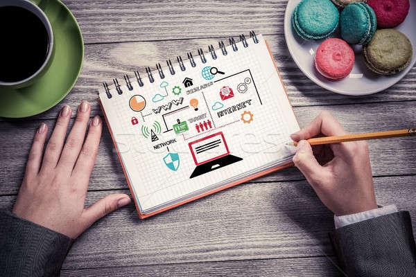 Businesswoman making business notes Stock photo © adam121