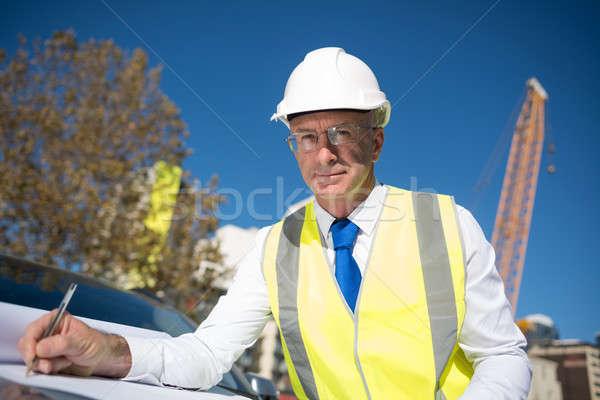 Supérieurs ingénieur construction projet mains Photo stock © adam121