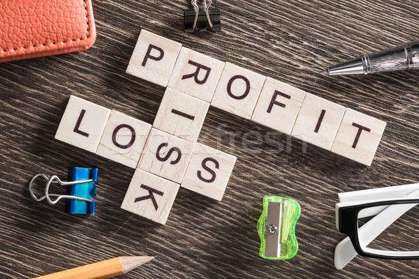 Foto stock: Negócio · tabela · elementos · jogo · palavras · cruzadas
