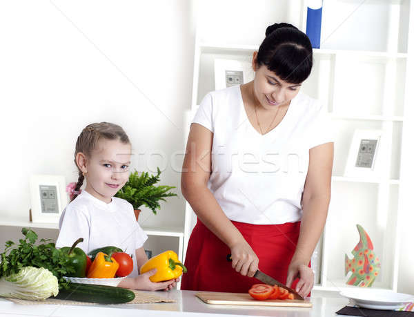 mom and daughter cooking together Stock photo © adam121