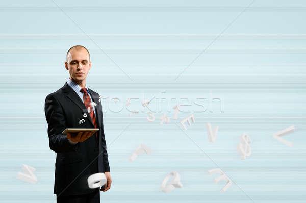 Foto stock: Empresario · tableta · digital · alrededor · 3D