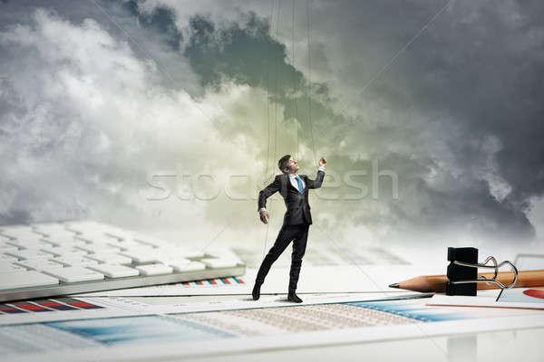 Işadamı kukla bebek büro geçmiş kırtasiye Stok fotoğraf © adam121