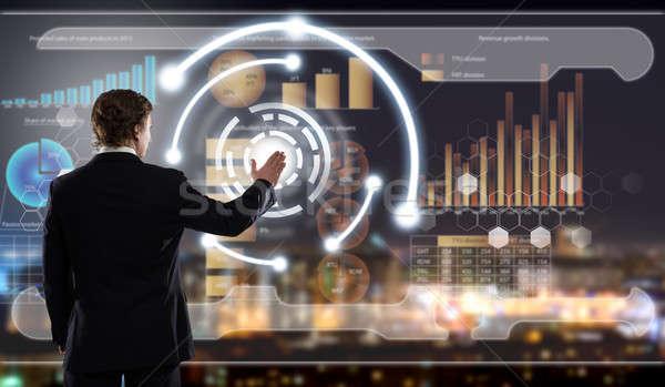 инновационный вид сзади бизнесмен прикасаться икона Сток-фото © adam121