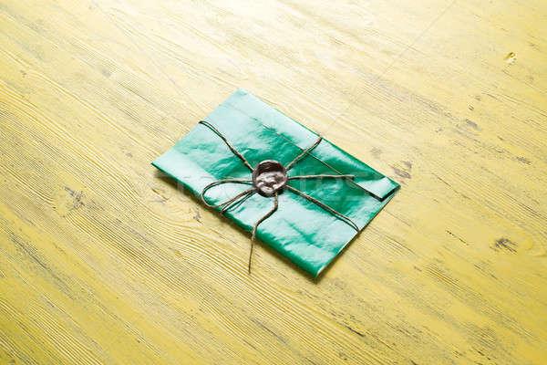 Brief zegel tabel groene envelop wax Stockfoto © adam121