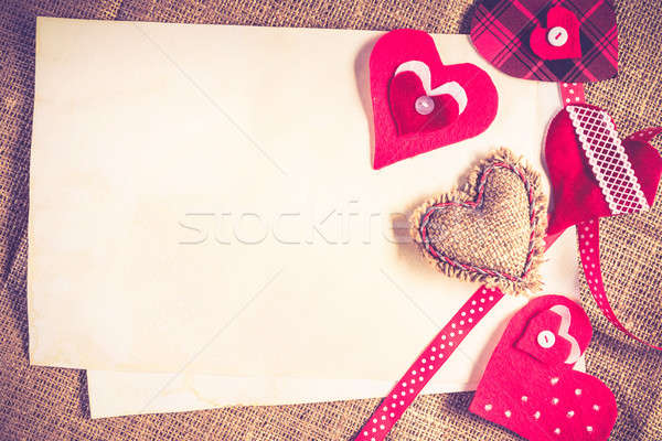 Do it yourself carte postale amour coeurs papier vierge Photo stock © adam121