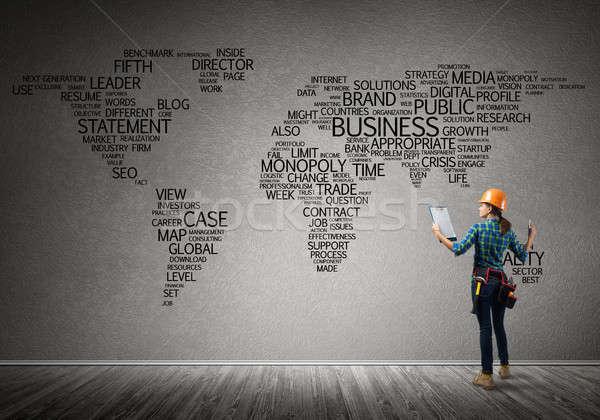 Stockfoto: Bouw · globalisering · vrouwelijke · bouwvakker · kamer · business
