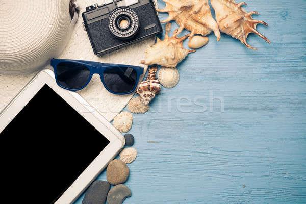 夏 オブジェクト 休暇 麦わら帽子 サングラス 海 ストックフォト © adam121