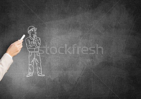 Ingegnere uomo maschio mano gesso costruzione Foto d'archivio © adam121