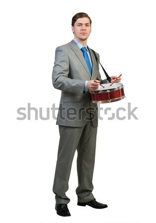 Zakenman spelen drums grappig geïsoleerd witte Stockfoto © adam121