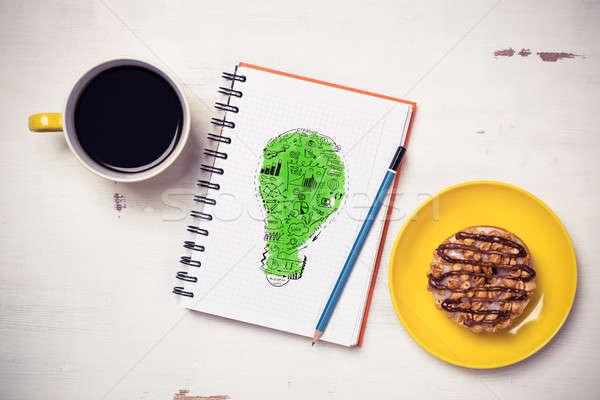 Zdjęcia stock: Słodkie · przekąska · nowego · pomysł · notatnika · filiżankę · kawy
