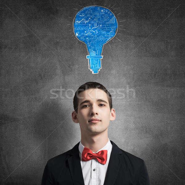Stockfoto: Creatieve · ideeën · hoofd · jonge · man · permanente · schoolbord