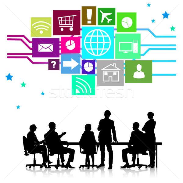 Reunião de negócios grupo pessoas de negócios silhuetas colorido aplicação Foto stock © adam121