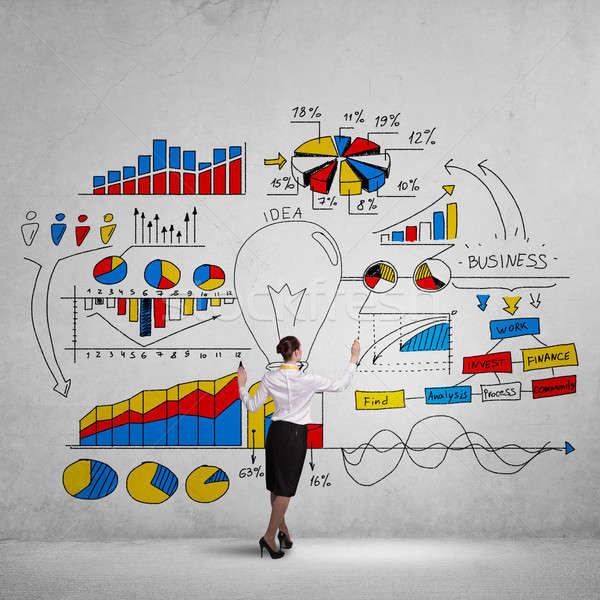 Kreative Business Plan Geschäftsfrau stehen Stock foto © adam121