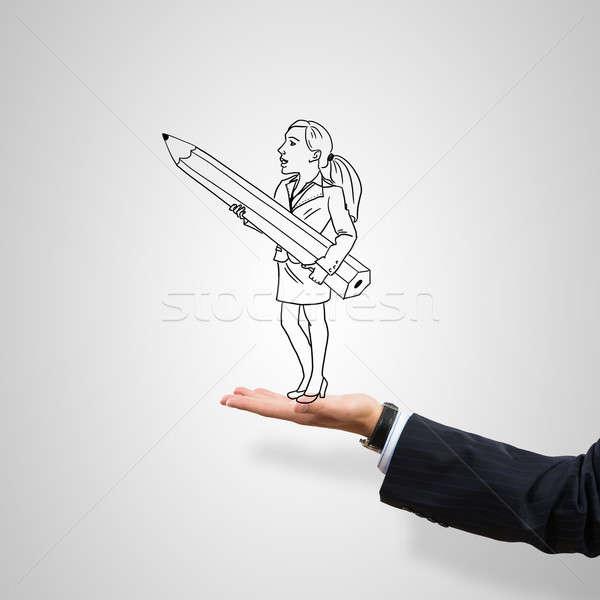 üzletasszony pálma rajzolt férfi szürke üzlet Stock fotó © adam121