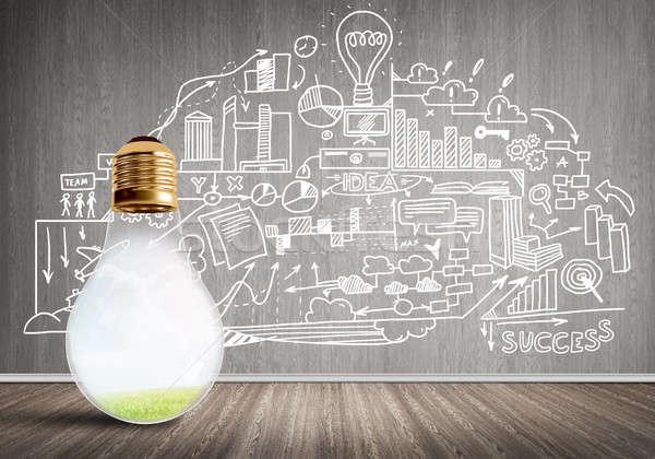 Eficaz social comercialización vidrio bombilla Foto stock © adam121