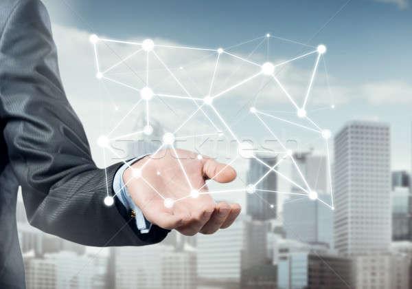 Conexiune interactiune om de afaceri mână Imagine de stoc © adam121
