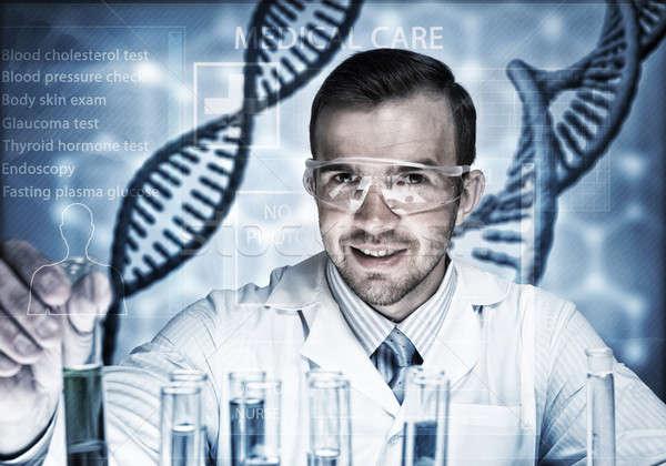 молодые ученого стекла колба клинический Сток-фото © adam121