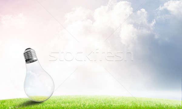 Alternatief zonne-energie elektrische gloeilamp zomer bewolkt Stockfoto © adam121