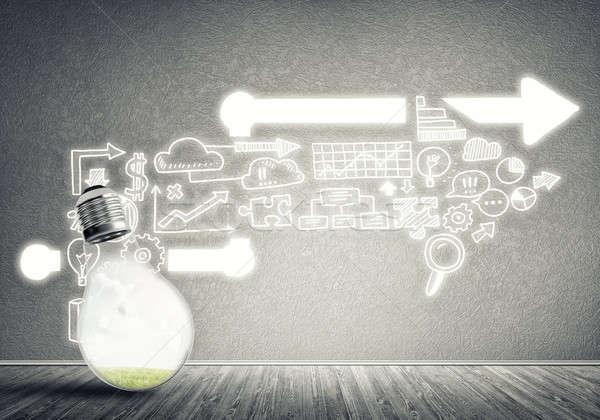Skuteczny obrotu pomysły szkła żarówka Zdjęcia stock © adam121