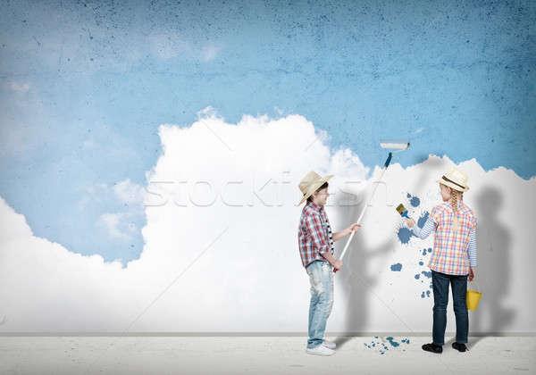 children paints the wall Stock photo © adam121