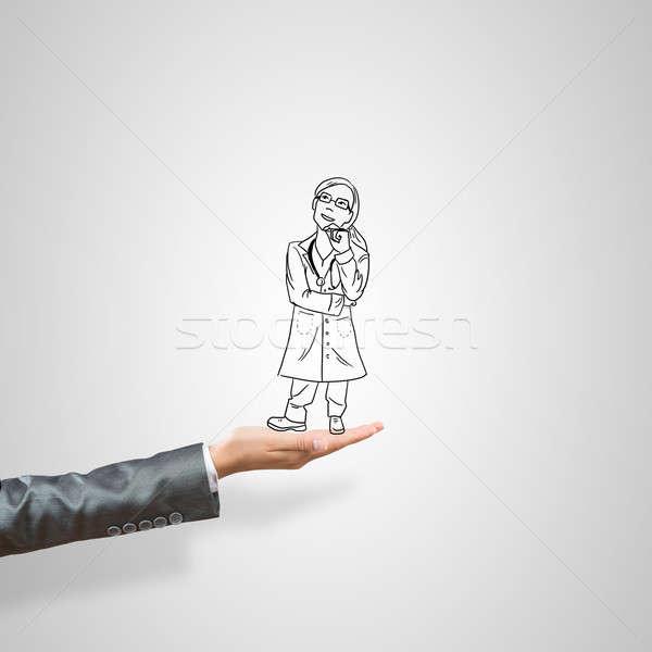 Mujer palma médico femenino gris Foto stock © adam121
