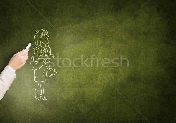 Caricatura mujer de negocios femenino mano dibujo tiza Foto stock © adam121