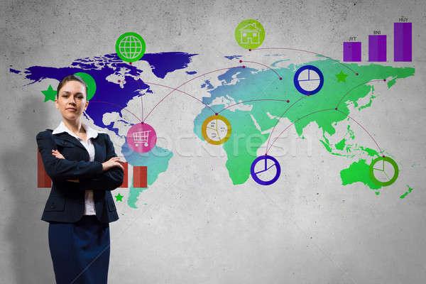 Interface présentation femme d'affaires couleur demande icônes Photo stock © adam121