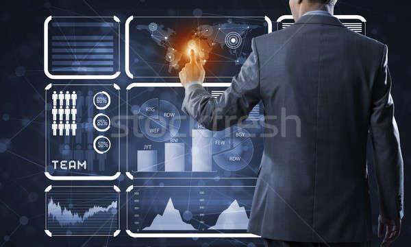 Innovativo tecnologia business vista posteriore imprenditore lavoro Foto d'archivio © adam121