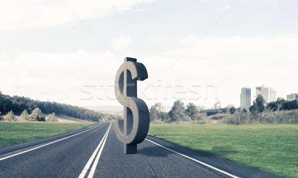 Money making and wealth concept presented by stone dollar symbol Stock photo © adam121