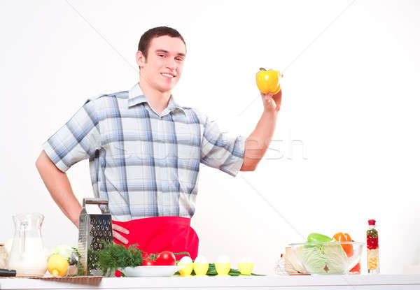 male chef holding a sweet pepper Stock photo © adam121