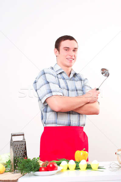 portrait of a young man, hold ladle Stock photo © adam121