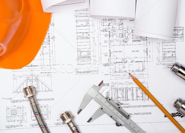 Csövek rajzok építkezés csendélet asztali munkaterület Stock fotó © adam121