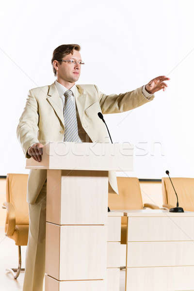 мужчины оратора за подиум этап глядя Сток-фото © adam121
