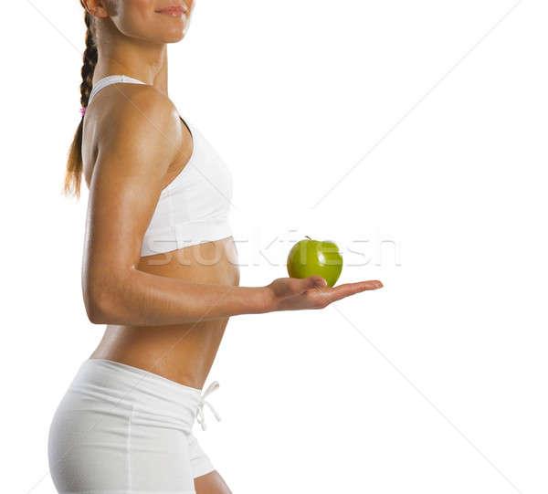 Foto stock: Jovem · atraente · mulher · verde · maçã