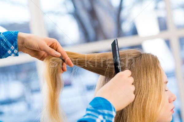 close up combing hair Stock photo © adam121
